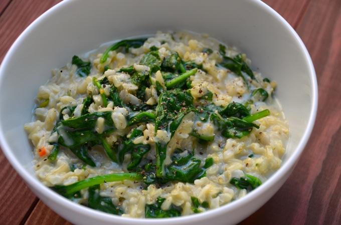 Reis und Spinat