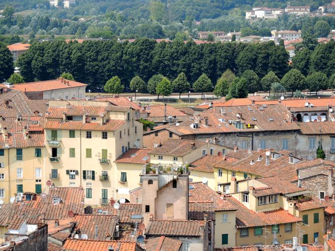 Der Blick vom Torre auf den Piazza dell'Anfiteatro