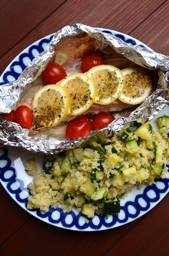 Ofenlachs mit Bulger und Gemüse