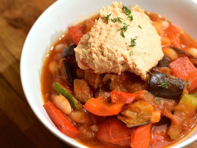 Ofengemüse mit Bohnen und Tomatensoße
