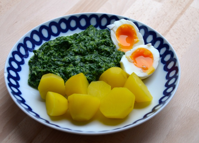 Spinat, Kartoffeln und Ei